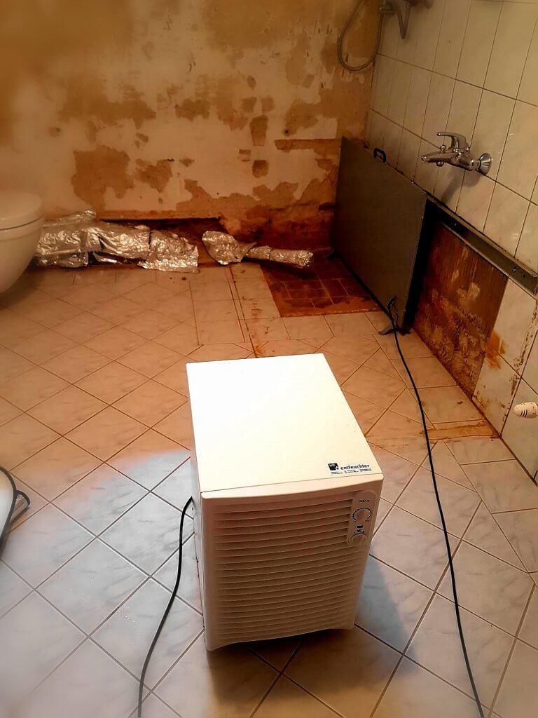 Sanitärraum wird saniert, ein INTROC Bautrockner trocknet im Hintergrund das feuchte Mauerwerk. Zusätzlich entfeuchtet ein Entfeuchtungsgerät im Vorergrund das Raumklima.